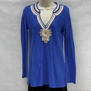 Lilly Pulitzer blue Emerson embellished tunic